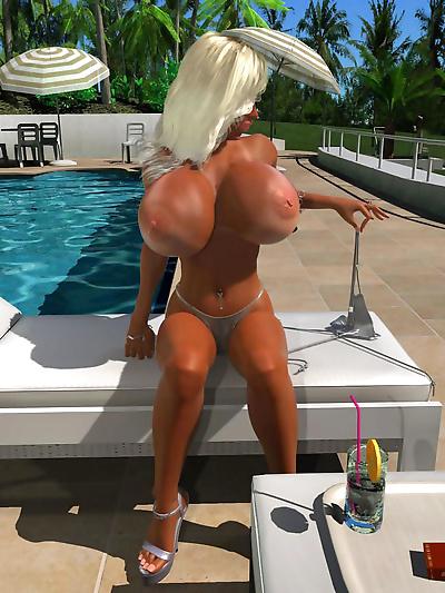 Blonde 3d hottie with bra..