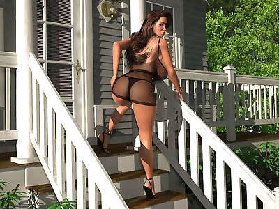 Provokingly dressed busty 3d..