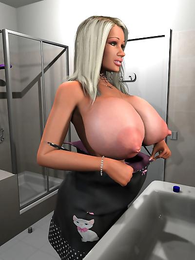 Sexy 3d blonde hottie exposing her enormous boobs in the bathroom - part 556