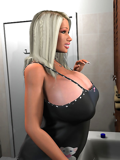Seductive 3d blonde exposing her enormous tits in the bathroom - part 458