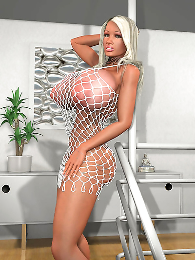 Huge breasted 3d blonde in fishnet bodysuit shows her clit - part 420